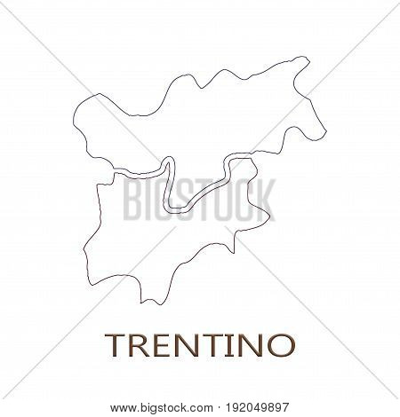 Trentino Alto Adige region on white background concept of a business tourism culture concept