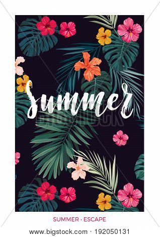 Tropical postcard design with bright hibiscus flowers, exotic palm leaves and lettering on dark background. Vector illustration.