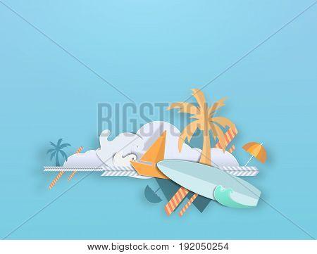 Summer beach paper art Composition vector art cute pastel paper cut illustration