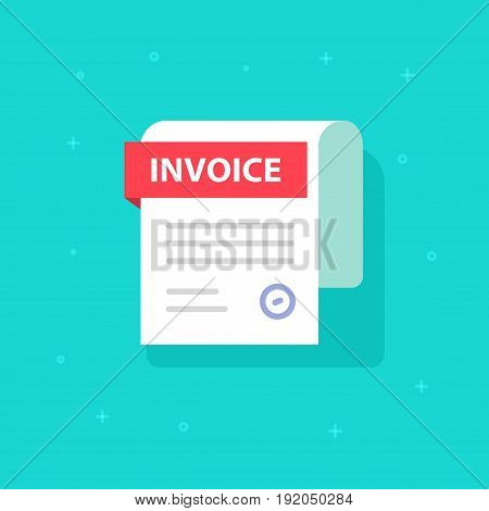 Bill vector icon, flat cartoon Invoice paper document isolated, billing form illustration clipart