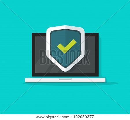 Computer protection vector icon isolated on color background, flat cartoon laptop protected with shield symbol, idea of pc security, firewall technology, privacy safety illustration clipart poster