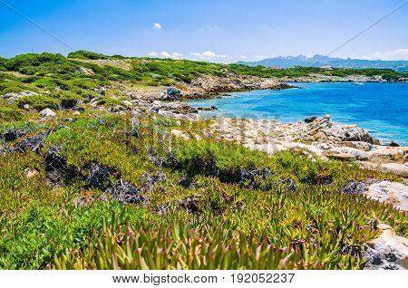 Beautiful costline with granite rocks and amazing azure water on Porto Pollo, Sardinia, Italy.