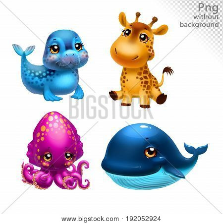 Giraffe, seal, cuttlefish and whale, png without background