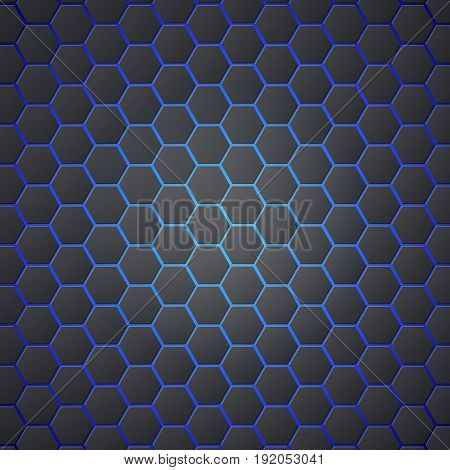 Honeycombs abstract 3d hexagonal seamless backdrop with blue electricity light. Metallic hexagons on blue background. Template for cover, posters, banners and other.