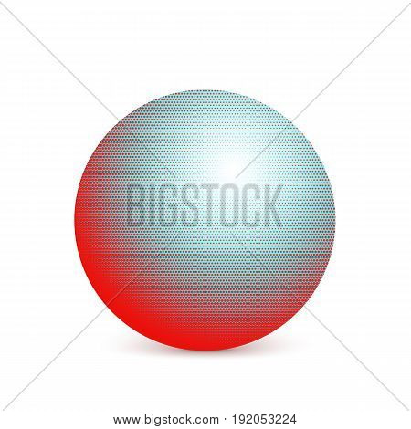 Abstract colorful halftone, minimalist ball, circle with shadow on white background. Comic style shape, gradient halftone pop-art retro style from dots. Template for ad, covers or posters.