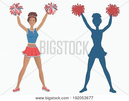Dancing girl with pom-poms and her silhouette. Vector illustration EPS-8.
