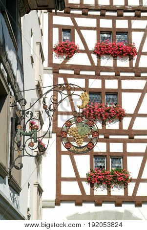 Stein am Rhein, Switzerland - 27 August 2008: Old restaurant sign at the beautiful medieval town of Stein am Rhein on Switzerland