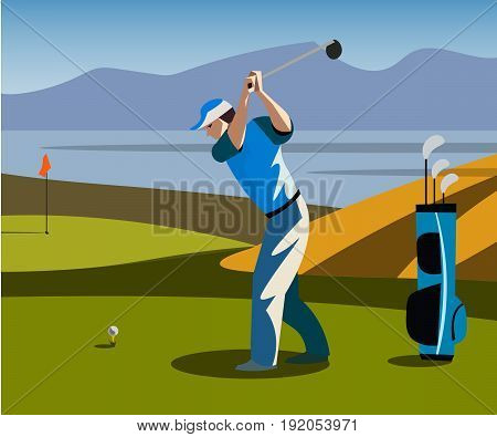 Golf Course Banner. Man play golf vector illustration