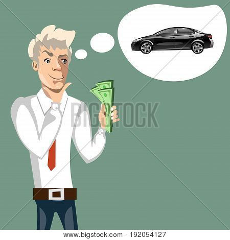 Man thinking of choice. Money for spending. Vectro cartoon illustration.