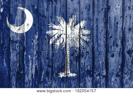 Flag of South Carolina painted on wooden frame
