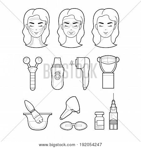 Services cosmetology set icons illustration lines. The model and instruments of cosmetologists are based services. Laser cosmetology, injective cosmetology, apparatus cosmetology, ultrasonic cosmetology, peelings and masks, threads. poster
