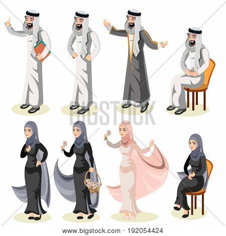 Set of different standing arab people in the traditional muslim arabic clothing isolated on white background in flat style.
