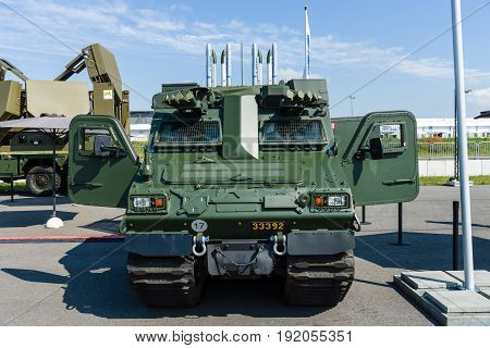 BERLIN GERMANY - JUNE 02 2016: The launching missile station IRIS-T SLS with command and fire-control system of the company Diehl Defence. Exhibition ILA Berlin Air Show 2016