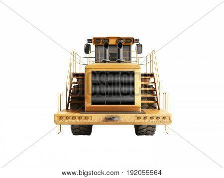 Yellow Wheels Bulldozer 3D Render On White No Shadow