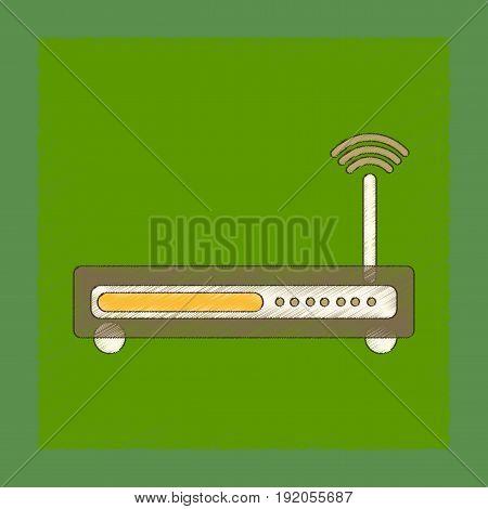 flat shading style icon of Wi fi modem
