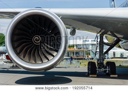 BERLIN GERMANY - JUNE 01 2016: Turbofan engine of the newest airplane Airbus A350-900 XWB. Exhibition ILA Berlin Air Show 2016