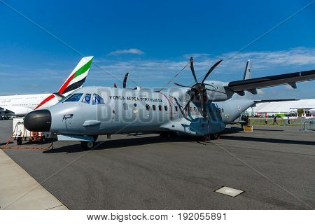 BERLIN GERMANY - JUNE 02 2016: Twin-turboprop maritime patrol aircraft CASA C-295 Persuader. Portuguese Air Force. Exhibition ILA Berlin Air Show 2016