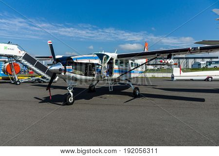 BERLIN GERMANY - JUNE 02 2016: Light transport turboprop Cessna 208B Grand Caravan by German Aerospace Center (DLR). Exhibition ILA Berlin Air Show 2016