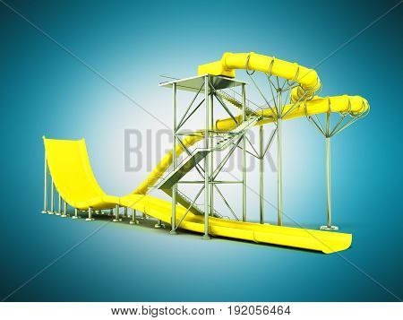 Aqua Park Water Carousel Yellow 3D Render On Blue Background