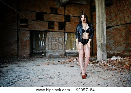Brunette Plus Size Sexy Woman, Wear At Black Leather Jacket, Lace Panties, Bra And High Heels At Aba