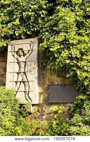GERMANY - May 30 2012: memorial plate to the victims of Nazism in Metzinger Germany