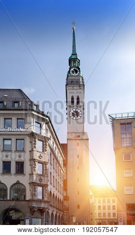 Tower of St. Peter Church in Center of Munich