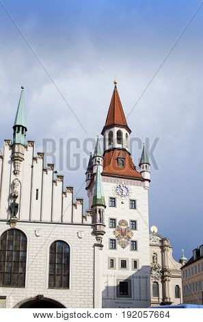 The Old Town Hall on the Central square of Munich and building 15th century. Munich Germany.
