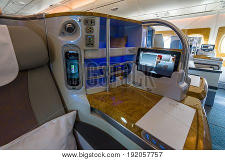BERLIN GERMANY - JUNE 02 2016: Interior of business class of the world's largest aircraft Airbus A380. Emirates Airline. Exhibition ILA Berlin Air Show 2016