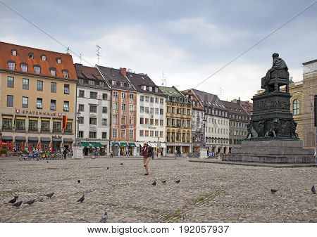 Munich Germany - May 29. 2012: Max-Joseph-Platz Square in Munich Germany