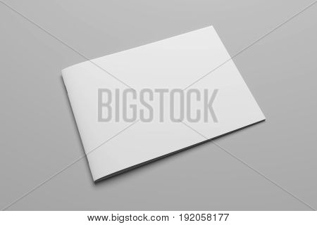Blank 3D rendering landscape brochure magazine isolated on gray background, with clipping path. Composition No. 8