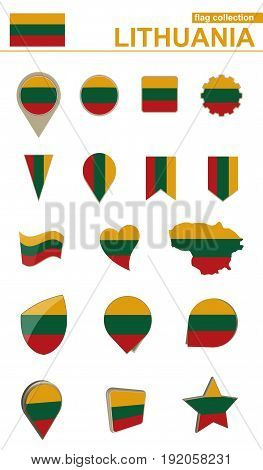Lithuania Flag Collection. Big Set For Design.