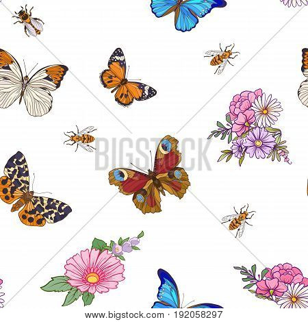 Floral seamless pattern with butterflies and bees in realistic botanical style.  Stock line vector illustration. On white background.