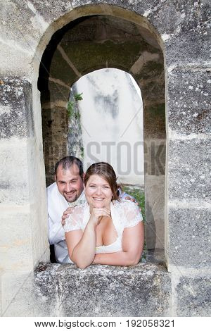 Happy Couple In Love In Ancient Castle