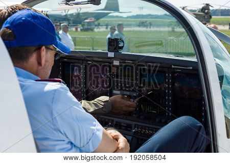 BERLIN GERMANY - JUNE 02 2016: The dashboard and avionics Genesys Aerosystems of two-seat turboprop training and aerobatic low-wing aircraft Grob G120TP. Exhibition ILA Berlin Air Show 2016