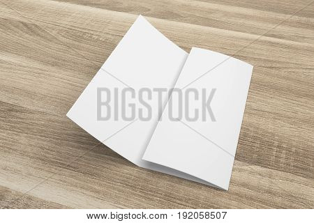 Blank opened 3D rendering tri-fold brochure mock-up with clipping path. Template on wood texture background. Composition No. 2