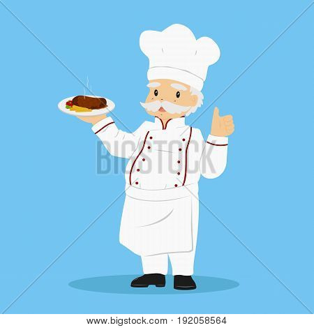 a chef carrying a plate of delicious steak and give a thumb up with his left hand