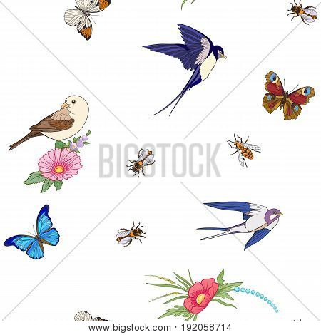 Floral seamless pattern with butterflies and bees and birds in realistic botanical style.  Stock line vector illustration. On white background.