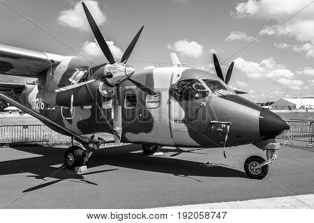 BERLIN GERMANY - JUNE 02 2016: A short takeoff and landing (STOL) aircraft PZL M28B/PT Skytruck. Polish Air Force. Black and white. Exhibition ILA Berlin Air Show 2016
