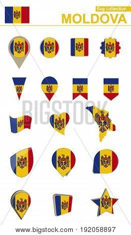 Moldova Flag Collection. Big Set For Design.
