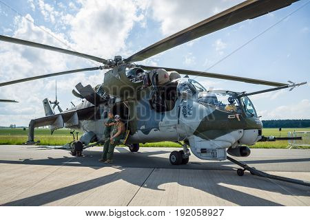 BERLIN GERMANY - JUNE 02 2016: Attack helicopter Mil Mi-24 Hind. Czech Air Force. Exhibition ILA Berlin Air Show 2016