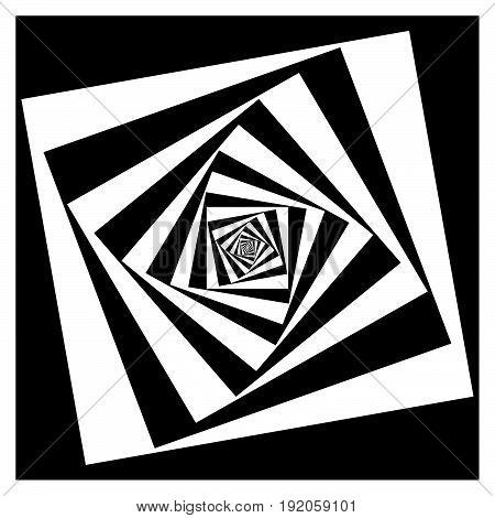 Abstract Geometric Element With Inward Rotating Squares. Overlapping Squares Black And White Abstrac