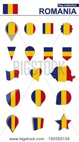 Romania Flag Collection. Big Set For Design.