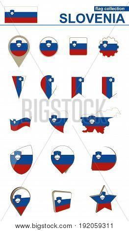 Slovenia Flag Collection. Big Set For Design.