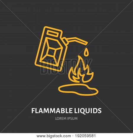 Fire extinguisher flat line sign of flammable liquids fire type. Flame protection thin linear icon, pictogram.