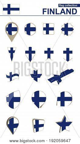 Finland Flag Collection. Big Set For Design.