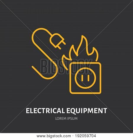 Fire extinguisher flat line sign of electrical equipment fire type. Flame protection thin linear icon, pictogram.