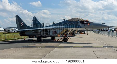 BERLIN GERMANY - JUNE 02 2016: Air superiority multirole fighter Mikojan-Gurewitsch MiG-29. Polish Air Force. Exhibition ILA Berlin Air Show 2016
