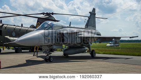 BERLIN GERMANY - JUNE 02 2016: Fighter attack and reconnaissance aircraft Saab JAS-39 Gripen. Czech Air Force. Exhibition ILA Berlin Air Show 2016
