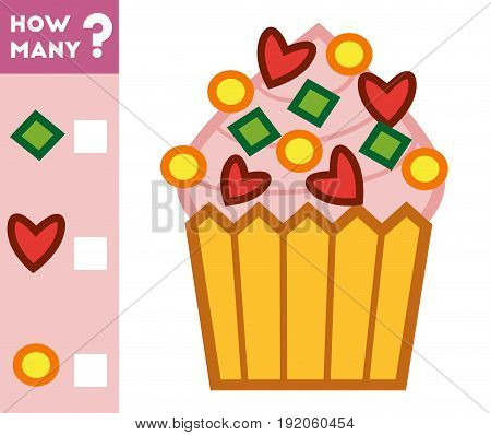 Counting Game For Children. Count How Many Cupcake Decorations And Write The Result!