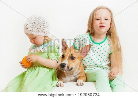 Two Little Girls And Dog